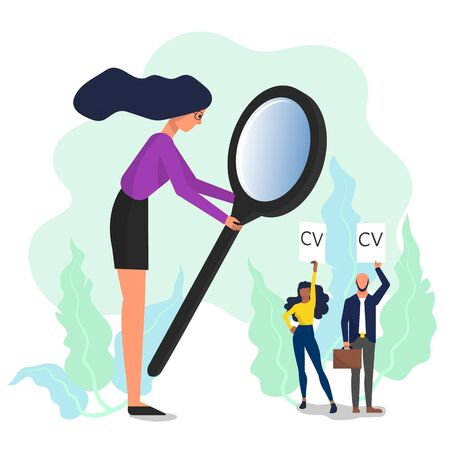 Woman holding big magnifying glass and looking at female and male job candidates. Isolated on white background. Flat style stock vector. Illustration