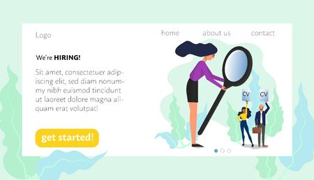 Woman holding big magnifying glass looking at job candidates. Landing web page template. Isolated on white background. Flat style stock vector Illustration