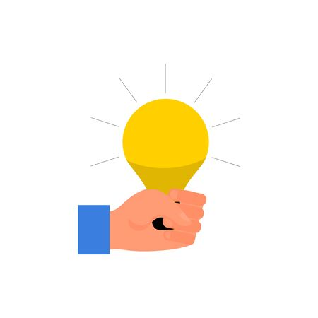 Caucasian human hand holding yellow light bulb in fist. Concept of energy and stregth. Isolated on white background. Flat style stock vector illustration.