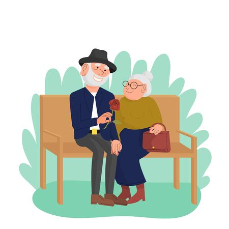 Caucasian old married couple sitting on bench in park, happy elderly people enjoying outdoors. Grandpa giving rose flower to grandma. White background. Flat style stock vector. Иллюстрация