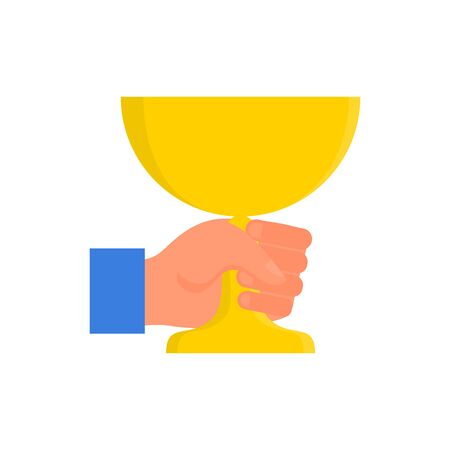 Caucasian human hand holding yellow golden cup in fist. Concept of success. Isolated on white background. Flat style stock vector illustration