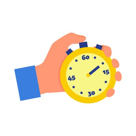 Caucasian human hand holding yellow stopwatch in fist. Concept of time management. Isolated on white background. Flat style stock vector illustration. Illustration