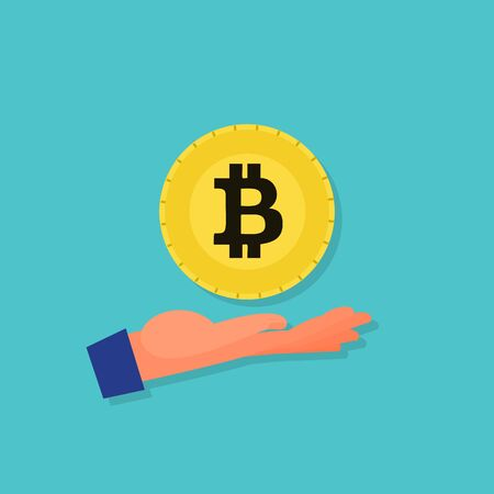 Bitcoin floating over caucasian human hand palm. Blue background. Flat style stock vector