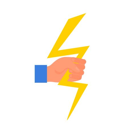 Caucasian human hand holding yellow thunderbolt in fist. Concept of energy and stregth. Isolated on white background. Flat style stock vector illustration