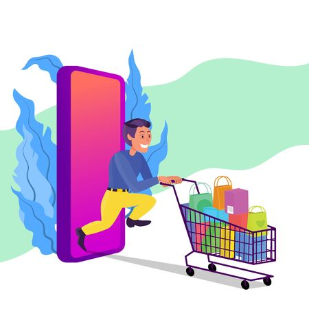 Caucasian adult man running with shopping cart full of purchases. Big smart phone behind. Online shopping concept. Flat style stock vector illustration, isolated on white background.