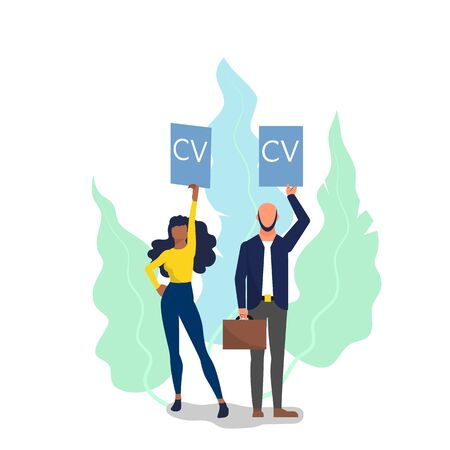 Concept of hiring new employees, female and male candidates holding their resume. Flat style stock vector illustration.