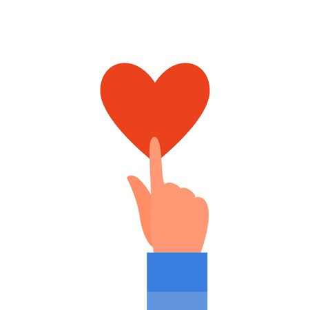 Caucasian human hand touching red heart with finger. Isolated on white background. Flat style stock vector