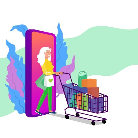 Caucasian adult woman walking with shopping cart full of purchases. Big smart phone behind. Online shopping concept. Flat style stock vector illustration, isolated on white background.
