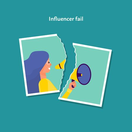 Torn photo of female influencer. Lost trust concept. Blue background. Flat style stock vector illustration.