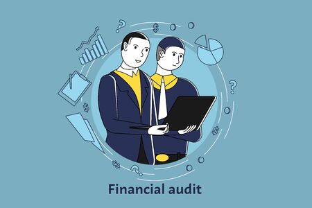 Group of business people making digital financial audit of company, man holding computer and showing on screen, vector.