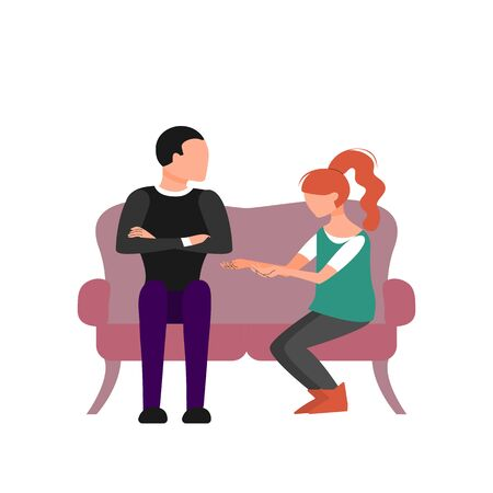 Caucasian couple of man and woman are talking sitting on sofa. Flat style stock vector illustration. 向量圖像
