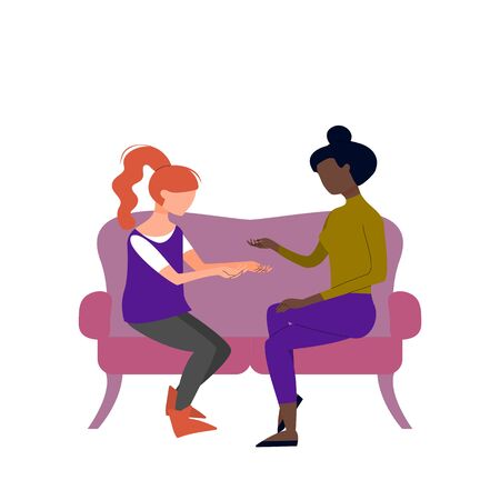 Couple of black and caucasian adult women are talking sitting on sofa. Argue, fight, angry conversation. Flat style stock vector illustration. Ilustracja