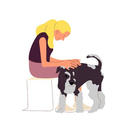Girl is sitting with a terrier dog outdoors. Petting and grooming dog. Isolated on white background. Flat style cartoon stock vector illustration Ilustração