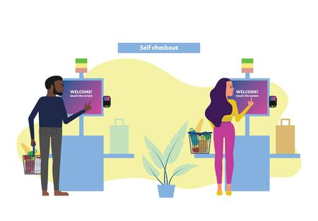 Female and male customers use self checkout counter in supermarket, self service lane in grocery store. Flat style stock vector illustration.