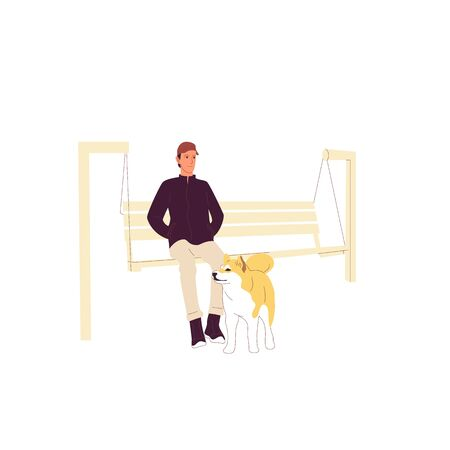 Man is sitting with a shiba inu dog on a bench outdoors. Isolated on white background. Flat style cartoon stock vector illustration