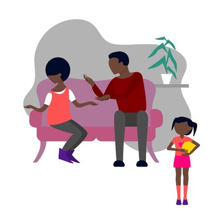 Black couple of man and woman quarrel sitting on sofa. Little baby girl is witnessing father and mother fight and have angry conversation. Flat style stock vector illustration. Standard-Bild - 137050702