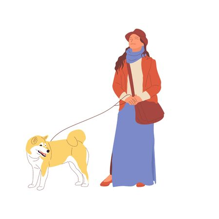 Young girl is walking with a shiba inu dog on a leash. Isolated on white background. Flat style cartoon stock vector illustration.. Standard-Bild - 137050705