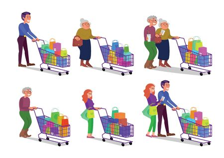 Set of caucasian adult and retired couples walking with shopping cart full of purchases. Happy smiling man and woman in shop. Flat style stock vector illustration, isolated on white background Standard-Bild - 137050710