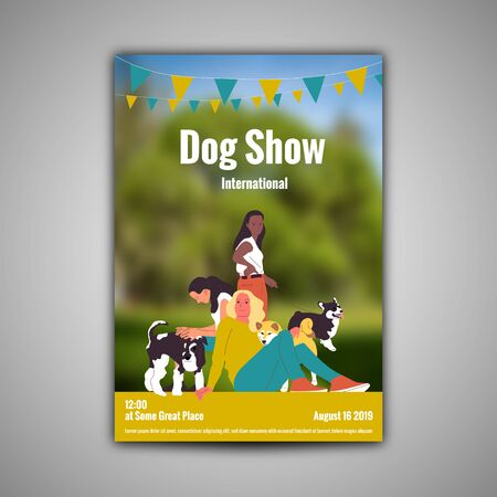Poster template for dog show with three girls with their dogs, shiba inu, corgi, terrier. Flat style cartoon stock vector illustration. Standard-Bild - 137050902