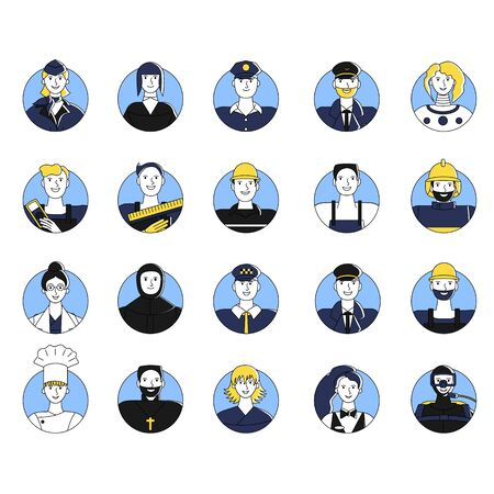 Collection of female and male workers of different professions user avatars. Bundle of icons of people of various occupations. Isolated on white background. Flat style stock vector illustration. Standard-Bild - 137050904