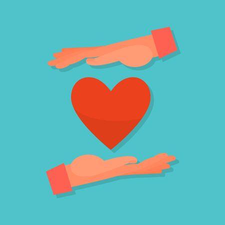 Caucasian human hands embrace red. Blue background. Flat style stock vector illustration. Standard-Bild - 137050908