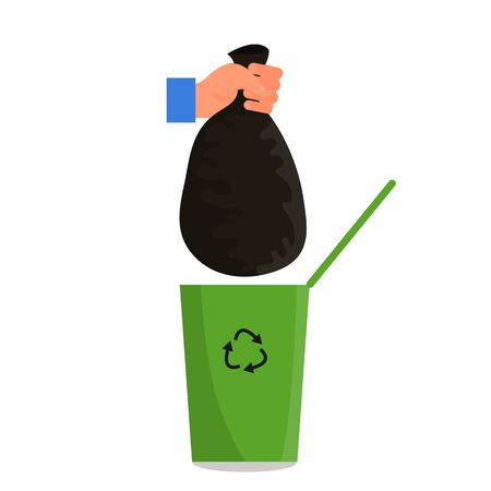 Caucasian human hand holding black plastic trash bag in fist over the green trash can. Isolated on white background. Flat style stock vector illustration. Standard-Bild - 137050923
