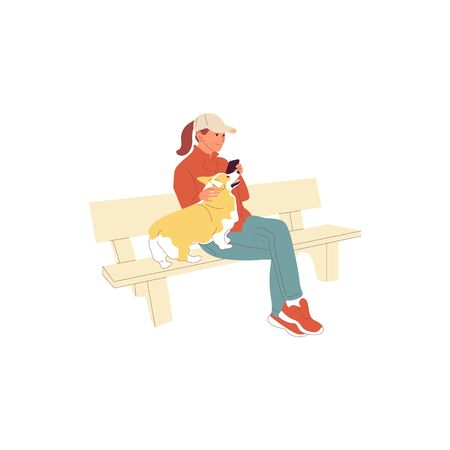 Girl is sitting with a corgi dog on a bench outdoors. Using smartphone. Petting and grooming dog. Isolated on white background. Flat style cartoon stock vector illustration Ilustração