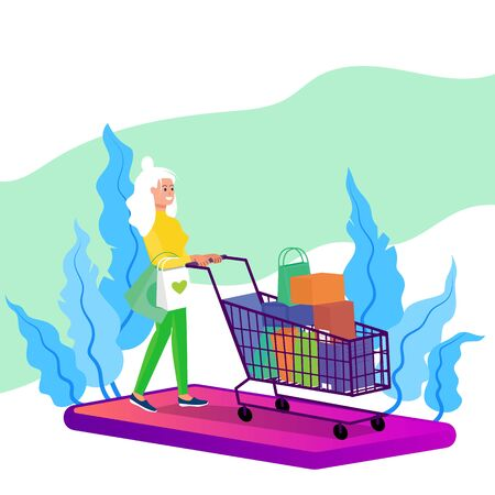 Caucasian adult woman walking with shopping cart full of purchases. Big smart phone below. Online shopping concept. Flat style stock vector illustration, isolated on white background. Standard-Bild - 137051560