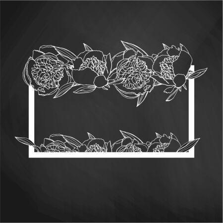 Hand drawn doodle style peony flower wreath. floral design element. on blackboard background. stock vector illustration Standard-Bild - 137051563