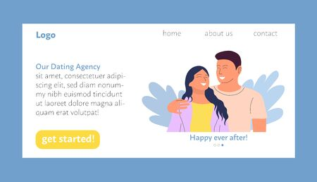 Dating agency landing page user interface design template, happy couple meeting and falling in love. Stock vector Standard-Bild - 137051567