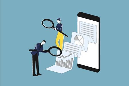 Businessman is looking through magnifier to document coming from big smart phone, flat vector illustration, digital audit concept.