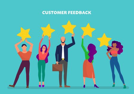Customer feedback concept art, many people hold yellow rating stars. Blue background. Flat style stock vector illustration