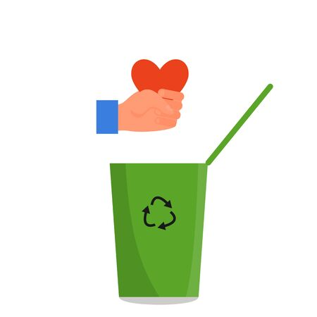 Caucasian human hand holding red heart in fist over the green trash can. Concept of divorce, tough business, cruelty, callousness, lack of empathy. Isolated on white background. Flat style vector.