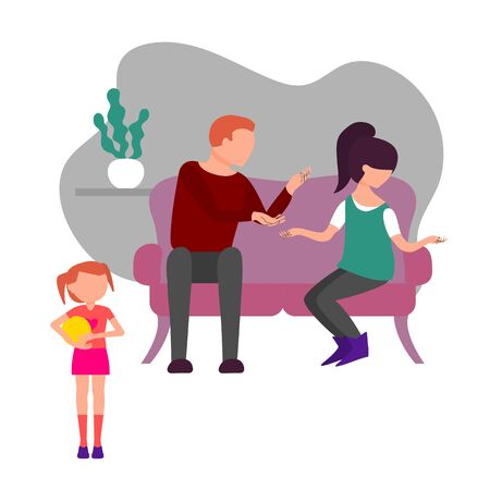Caucasian couple of man and woman quarrel sitting on sofa. Little baby girl is witnessing father and mother fight and have angty conversation. Flat style stock vector illustration.