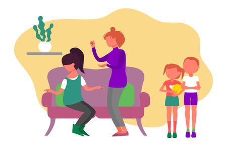 Caucasian couple of two women quarrel, wife is humiliating older sister. Boy and girl siblings witnessing adults fight, brother and sister are upset. Flat style stock vector illustration.