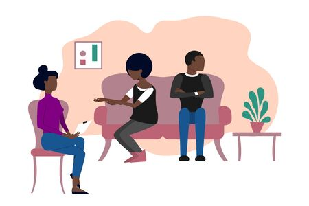 Married black couple having therapeutical meeting at psychologist office. Flat style stock vector illustration.