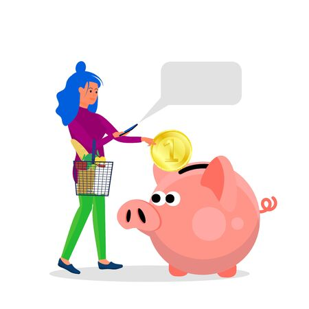 Woman holds smartphone and putting big coin into piggy bank. Concept art of cash back, discount, saving while spending. Isolated on white background. Flat style stock vector illustration.