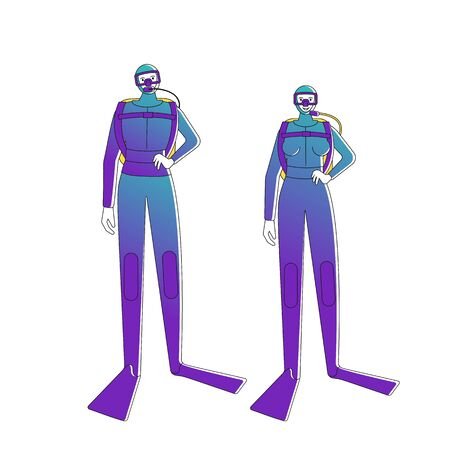 Female and male Divers in diving suites. Isolated on white background. Flat style vector illustration.