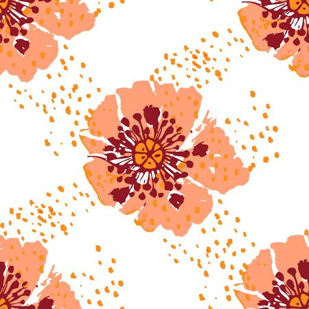 Colorful floral Seamless pattern with hand drawn dog rose flowers on white background. Vector illustration.