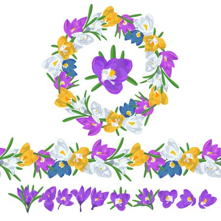 Hand drawn colorful crocus flowers circular wreath and seamless brush. Floral design element. Isolated on white background. Vector illustration.