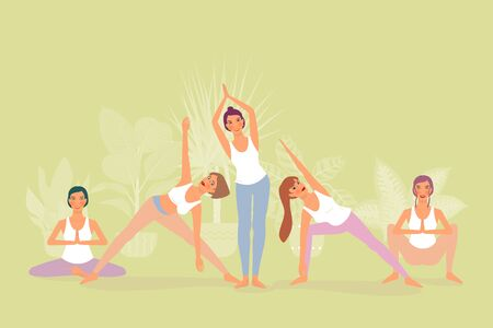 Five beautiful girls are doing yoga and meditation. isolated on green background Illustration