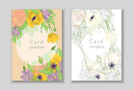 Set of rectangular frame with hand drawn crocus,poppy, rose flowers arrangement. Greeting card template. Vector illustration