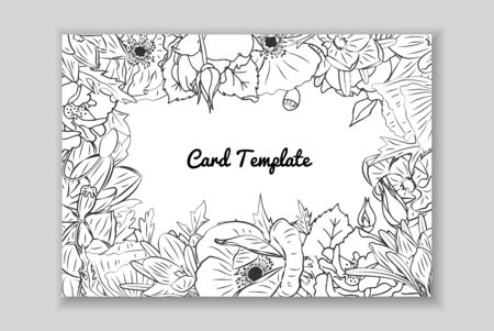 Rectangular monochrome card with frame of hand drawn rose, crocus and poppy flowers arrangement. Greeting card template. Vector illustration.