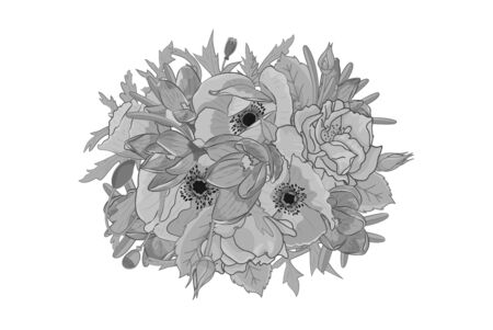 Hand drawn monochrome crocus, poppy, rose flowers round arrangement. Floral design element. Isolated on white background. Vector illustration.