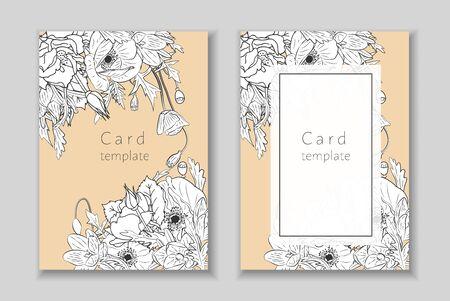 Set of rectangular frame with monochrome hand drawn crocus,poppy, rose flowers arrangement. Greeting card template. Vector illustration. Vettoriali