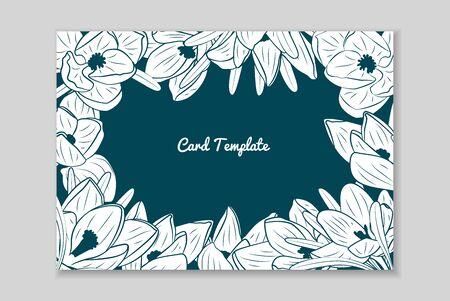 Rectangular card frame with hand drawn white crocus flower arrangement. Greeting card template. Vector illustration. Vettoriali