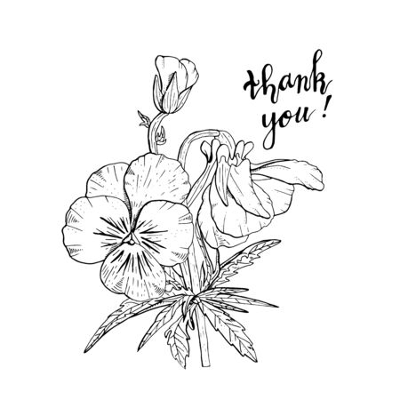 Hand drawn pansy flowers clipart. Floral design element. Isolated on white background. Vector illustration. Vettoriali