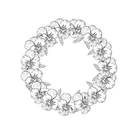 Hand drawn monochrome pansy flowers circular wreath. Floral design element. Isolated on white background. Vector Vettoriali