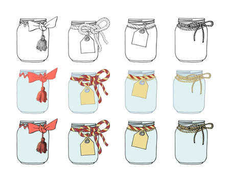 Set of hand drawn jars with bows and tags. Stock vector illustration