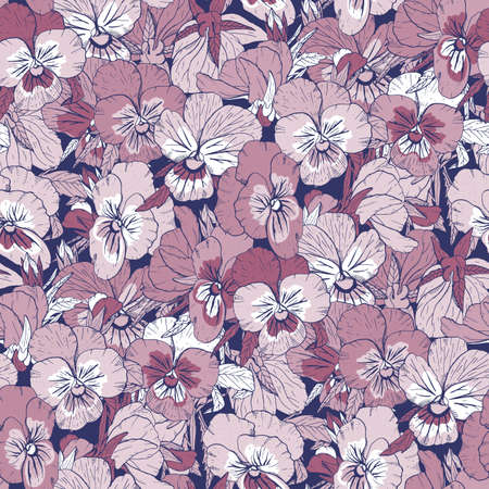 Violet floral seamless pattern with hand drawn pansy flowers on blue background. Stock vector